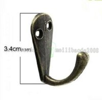 "Wholesale Wholesale Single Robe Hook - 2017 NEW Single Prong Clothes Coat Robe Purse Hat Hook Hanger Antique Bronze 3.4cm x 1.4cm(1 3 8"" x 4 8"") FREE SHIPPING MYY"