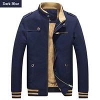 Wholesale Large Collar Jacket Mens - Wholesale- Mens 2016 Large Size Winter Casual Brand Jackets Male Solid Stand Collar Slim Fit Overcoat Homme Warm Coats Plus Size M-4XL