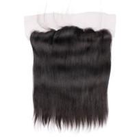Wholesale Silky Frontal - Peruvian Straight 4x13 Lace Frontal Closure Ear to Ear Silky Straight Virgin Hair Free Shipping Hair Closure
