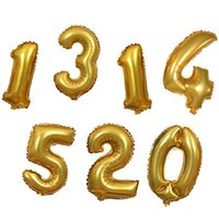 Wholesale Single Digit - 32 inches Gold Silver Number Foil Balloons Digit Balloons Birthday Party Wedding Decor Event Party Supplies