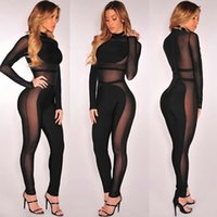 Wholesale Womens Sheer Pants - Black Mesh Bandage Jumpsuit Womens Bodycon Bodysuit Sheer Patchwork Perspective 2017 Spring Sexy Overalls Long Pants Night Club Wear suits