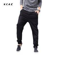 Wholesale Mens Trousers Hip Hop - Wholesale- Big Size M-5XL 46 New Fashion Casual Black Jeans Mens Joggers Loose Denim Pants Pockets Trousers Hip Hop Harem