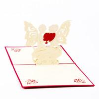 pop up carte coeur 3d achat en gros de-10pcs / lot carte postale coeur ange 3D Pop UP carte Kirigami Origami Thanksgiving Day cartes de vœux Invitations de mariage