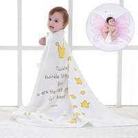 baby mit decken großhandel-Babydecke Neugeborene, die Decken bekommt Weiche Musselin Baumwolle Baby Swaddle Wrap Aktive gefärbt Crown Wings Kinder Badetuch Sommer Quilt