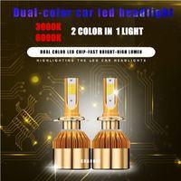 Wholesale H4 Color - Super Bright dual color Car H4 H7 H11 LED Headlight Kit 880 9005 9006 1860 Chips Replacement 3000K 6000K H1 H3 9012 LED Bulbs