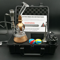 Wholesale Dhl Free E Pipe - DHL free Portable Pelican E Digital Dab Nail Kit with copper plating water pipe honeycomb perc functions oil rig dab rig glass bong