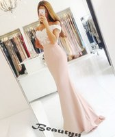 Wholesale Cheap Lace Up Back Corset - White And Champagne Bridesmaid Dresses Long 2017 Cheap Off Shoulder Corset Back Lace Satin Women Wedding Party Dress Gowns