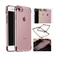 Wholesale Iphone Back Top Bottom - New Electroplate Transparent TPU Case For iPhone 7 Plus 6 6S Plus & Top Bottom Electroplating Soft Clear Phone Back Cover Support Mix model