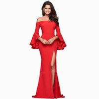 Wholesale High End Red Evening Dresses - Sexy red long prom dress Spring and Autumn high-end evening dresses collar slit women long cheap prom dresses free shipping