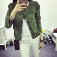Wholesale Short Leather Jacket Woman Fashion - Wholesale- 2017 New High Street Ladies Soft Suede Jacket Women Vintage Faux Leather casual short Army Green Pink Outwear Tops Slim Wear
