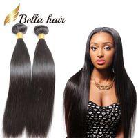 cheveux péruviens bellahair achat en gros de-En gros 10pcs / lot perruque droite Bundles de cheveux humains pas cher extensions de cheveux vierges BellaHair tisse nouvelle arrivée 7A cheveux de donneur