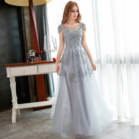 Wholesale Modern Cotton Dresses - VARBOO_ELSA Hot Grey Lace Embroidery Beading Long Evening Dresses 2017 Floor Length Cheap Sexy Formal Evening Party Gowns Robe De Soiree