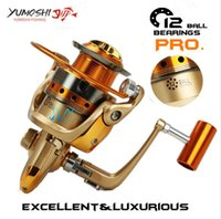 Wholesale bb spin - Yumoshi Brand Fishing reel 12 BB 5.5:1 lightweight Super strength spinning fishing Salwater reel Perfect Rod Combo