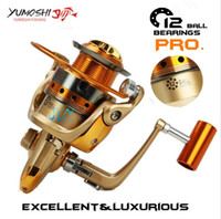 Wholesale reels combo - Yumoshi Brand Fishing reel 12 BB 5.5:1 lightweight Super strength spinning fishing Salwater reel Perfect Rod Combo