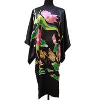 Wholesale Ladies Animal Print Robe - Wholesale- Black Ladies Robe Summer Casual Pajamas Chinese Women Rayon Sleepwear Kimono Bath Gown Nightgown Kaftan Yukata One Size M03