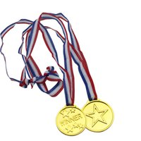 Wholesale Fun Favor - Wholesale- 50pcs Lot Medals Toys Medallion Supplies Party Gold Winner Fun Prize Awards Sports Plastic Party Supplies
