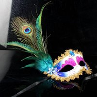 Wholesale Peacock Christmas Decor - 2017 New fashion pvc beautiful elegant masquerade ball halloween crystal mask peacock feather decor Free Shipping
