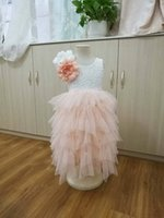 Wholesale New Flower Girl Party Dresses - Girls party dress new children Stereo flowers lace tulle tutu dresses girls back V-neck tiered tulle long dress kids princess dress A9044