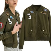 Wholesale hot slim patch - Hot Sale New Women Kasic Patch Coats Army Green Bomber Jackets Female Coat Flight Suit Casual Print Jacket Embroidered Patches Jacket Coats