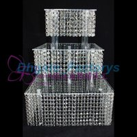 Wholesale Wedding Cake Crystal Chandelier - 3 Tier Crystal Cake Stand Square Acrylic crystal chandelier Cupcake stand Wedding Anniversary Party Display Tools