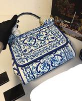 Wholesale D Handbags - 2016 D New style Women leahter Handbag fashion single shoulder Tote messenger bag Top layer Cowhide Blue and white porcelain Leopard inside