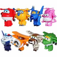 Déformation Super Robot Pas Cher-8pcs / set Super Wings Toys Mini Planes Modèle de transformation Robot Deformation Avion Robot Boys Christmas Birthday Gift