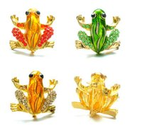 Wholesale Gold Frog Jewelry - Wholesale- Frog Brooches Fashion Jewelry Accessories Brooch For Girl Vintage Lovely Crystal Rhinestone Scarf Pins Brooches For Women