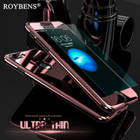 Wholesale Bling Glasses Case - Roybens Luxury Bling Metal Skin Plating Hard Front Back Case For iPhone 6 6S Plus iPhone 7 Case 360 Full Cover + Temper Glass