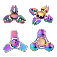 Multicolor packaging corners - Fidget Spinner High quality alloy three four Corner Hand Spinner For Autism ADHD Finger Spinner Coloured Children Adult with Package Box J2
