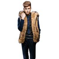 продажа искусственных меховых жилетов оптовых-Wholesale- Hot Sale  Quality Male Mens Faux Fur Hoodies Jacket Vest Winter Fashion Sleeveless Hooded Outerwear Slim Vest Coats N291
