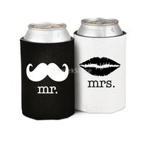 Wholesale Mr Mustache Wholesale - Wholesale-Hot Neoprene Beer Tin Can Cooler Sleeve Holder Wedding Party Favor Gifts mr mrs Mustache Lip   mr mrs with Heart