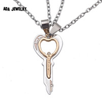 Wholesale Couples Jewelry Pc - Wholesale-2 pcs a Pair New Double Heart &Key Matching Pendants for Lovers I Love You Couple Necklace Metal Chain Women Necklace Jewelry