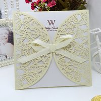 Wholesale Butterfly Wedding Cards Design - 50pcs lot free shipping laser cut wedding invitations cards Butterfly design test customized wedding party cards supplies