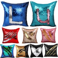 Vente en gros- 40 * 40CM DIY Glitter Sequins Magic Throw Pillow Cases Cover Mermaid Changing Scale Hugging Cushion Decorative Pillow Case Cover