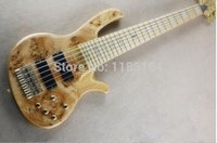 Wholesale fodera basses resale online - Rare Fodera deDelivera Butterfly Strings Spalte Burl Maple Top Electric Bass Guitar Ash Body Maple Neck Active Wires V Battery Box