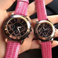 Wholesale Pink Designer Watches Women - Lovers' Luxury Brand Designer mens Ladies watches Fashion Quartz Leather band watch For men women Wristwatches with 3 Eyes Clock best gift