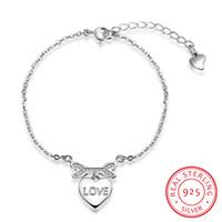 Wholesale Sterling Heart Love - Real Sterling-silver-jewelry Love Bracelets for Women 925 Silver Romantic Jewelry Fashion Heart Bracelet Letter Love Charms Crystal Bracelet