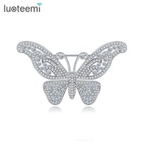 Wholesale Delicate Crystal Brooches - Delicate CZ Brooches Vintage Pin Jewelry for Women Crystal Butterfly Brooch Shining White-Gold Color New Arrival LUOTEEMI