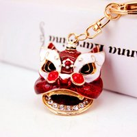 Wholesale Fire Ornament - Creative jewelry Chinese style car ornaments key chain wind and fire unicorn lion head bag pendant