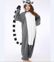 trajes de macaco para adultos venda por atacado-Atacado-Novidade Animal Lemur Longo Cauda Macaco Adulto Onesie Unisex Mulheres Homens Pijama Animal Halloween Trajes de Festa de Natal
