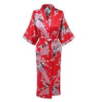 Wholesale Kimono Chinese Wedding Dress - Wholesale- Hot Sale Red Chinese Women Silk Rayon Robe Dress Bridemaids Sexy Wedding Nightgown Kimono Bathrobe Size S M L XL XXL XXXL A-108