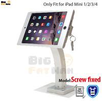 duvar için montaj braketi standı toptan satış-IPad mini için Fit 1234 duvar montaj alüminyum metal kasa braketi Güvenlik ekran kiosk POS ipad tablet için kilit tutucu ile standı