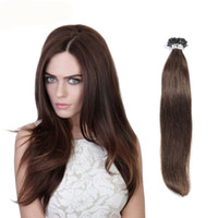 Wholesale 16inch Brazilian Hair - 0.5g strand Nail U Tip Pre-Bonded Keratin Glue Human Natural Hair Extensions 100 strands 16inch--26inch Real Human Hair extensions