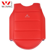 Wholesale Chest Guard - Thicker PU leather Karate guard PU leather Chest guard men and women Karate protective gear blue and red two styles
