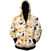 Wholesale Dog Head Hoodie - Wholesale- Funny Head Doge Zipper Hoodie God Dog shiba Inu Print 3d Sweatshirts Outfits Men Sweats Plus Size S-6XL Drop Shipping
