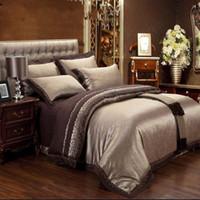 Wholesale Silk Comforter Brown - 4 6pcs Brown Jacquard Satin Bedding Bedclothes set king Embroidery duvet cover queen silk cotton bed sheet linen home textile