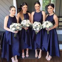 Wholesale Prom Navy Blue Asymmetrical - Stylish Asymmetrical A-Line Bridesmaid Dresses Fashion Navy Blue Satin Sleeveless Wedding Guest Dress Ankle Length Formal Party Prom Dresses