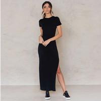 Wholesale Cheap Plus Size Midi Dresses - Summer Round Neck Dress Sexy Solid Color Slits Black Long Dress Vestidos Playa Ladies Shirt Cheap plus size Clothing 60Y0089