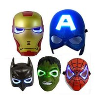 Wholesale Kids LED Flash Masks Avengers Super Hero Captain America Spiderman Iron Man Glowing Lighting Mask Halloween Party Mask OOA2343