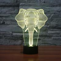 elefantenlampen großhandel-3D Illusion Elephant bunte LED-Licht Lampe 7 Farbe Touch Lampe Kiddie Kinder Familie Urlaub Geschenk Home Office Kinderzimmer Thema Dekoration